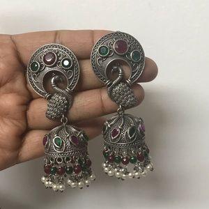 Jewelry - Open Wings Red & Green Peacock Earrings